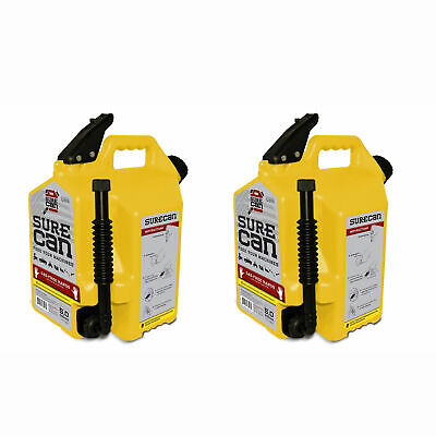 Surecan 5 Gallon Self Venting Diesel Fuel Can W Rotating Spout Yellow 2 Pack