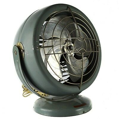 Vintage Dominion 2005-A Electric Fan Art Deco Metal Green Silver Round Small