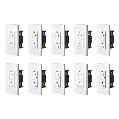 10PK 20AMP GFCI GFI Safety Outlet Receptacle w/ Wall Plate LED Indicator TR WR Duplex Ac Outlet