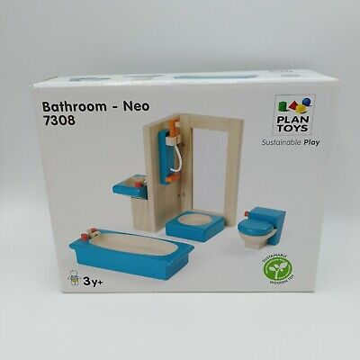 Dollhouse Neo Bathroom Furniture Group 4 Piece Set 7308 Sustainable Wooden Toy