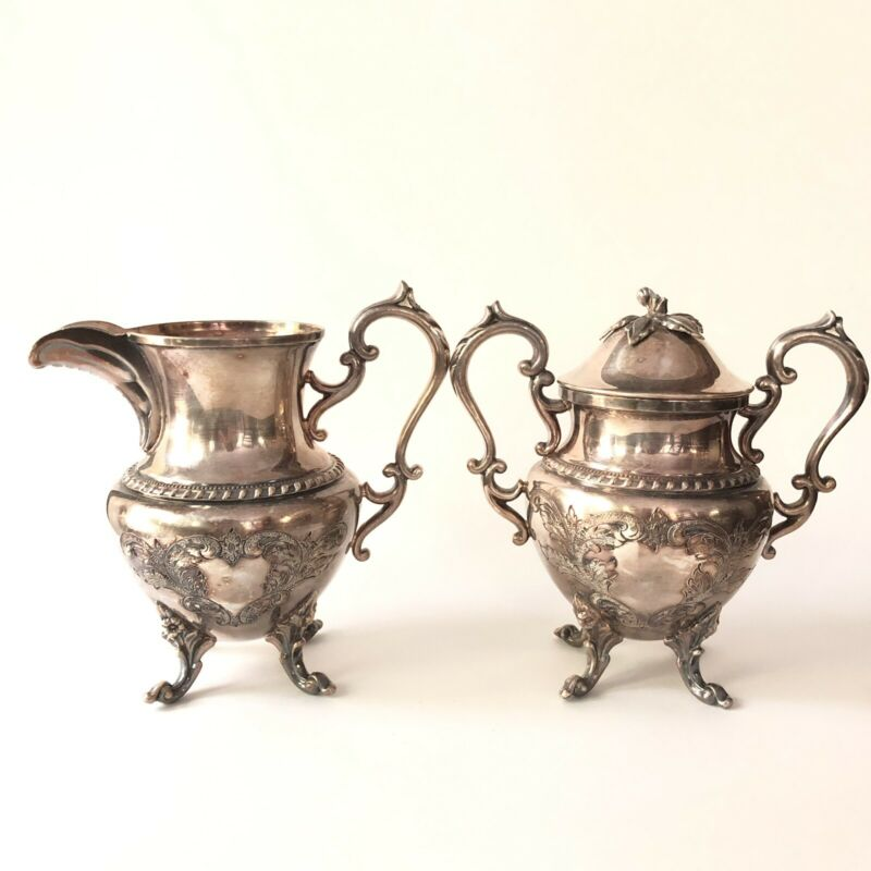 Silver Plated Creamer Sugar Set Hand Chased Ornate Footed Large Silverplate VTG