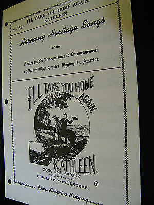 SHEET MUSIC HARMONY HERITAGE SONGS I'LL TAKE YOU HOME AGAIN KATHLEEN
