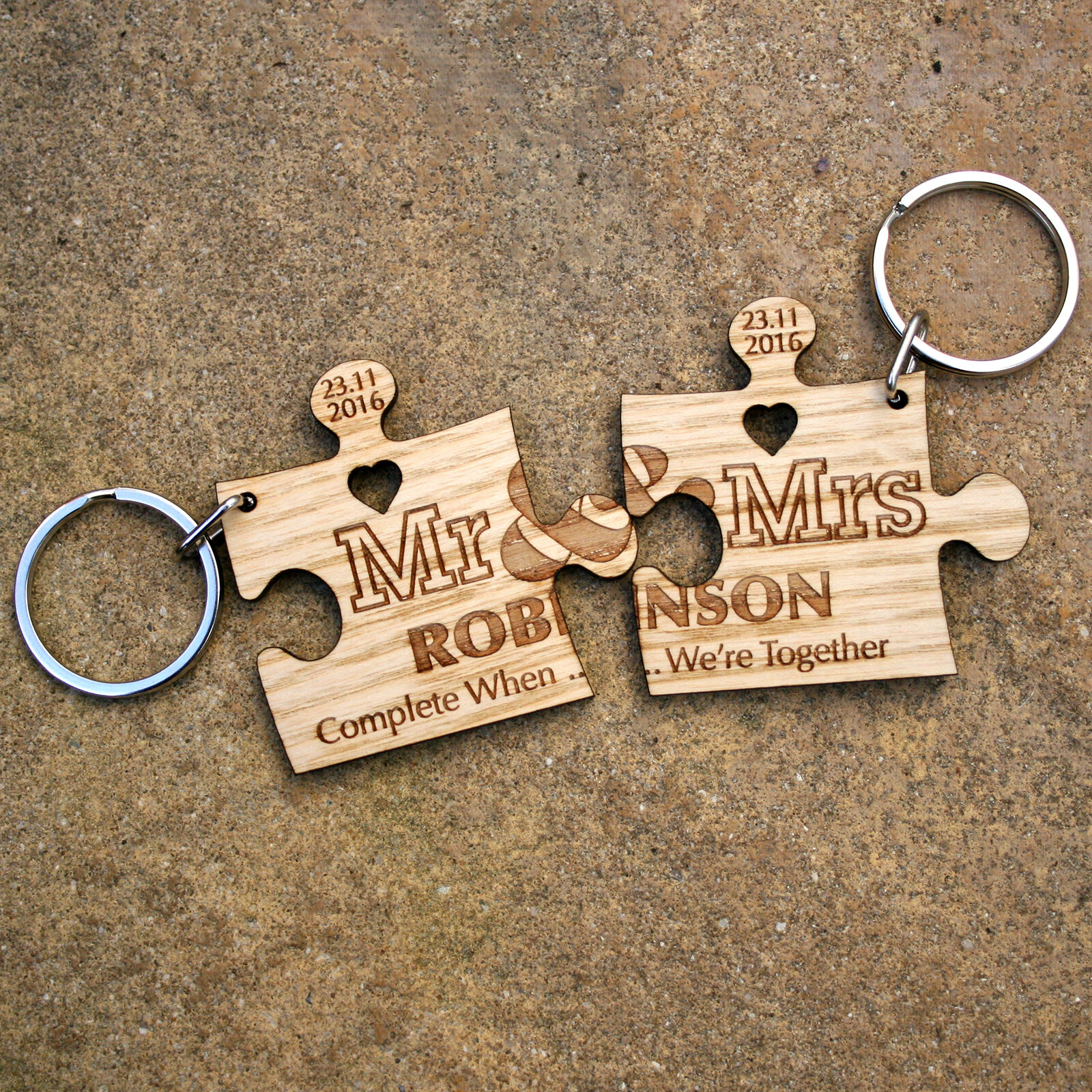 Valentines Day Anniversary Gift Personalised Jigsaw Puzzle keyrings Couples Gift