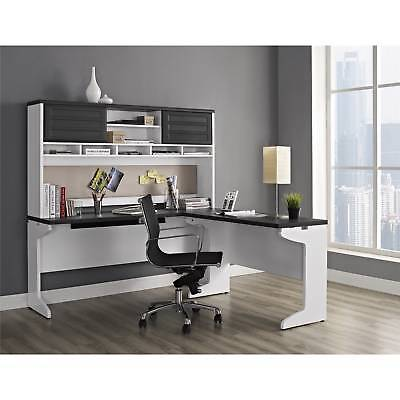 White Gray 3 Piece L-Shape Desk Set Collection Home Office Living Furniture L-shaped Home Office Set
