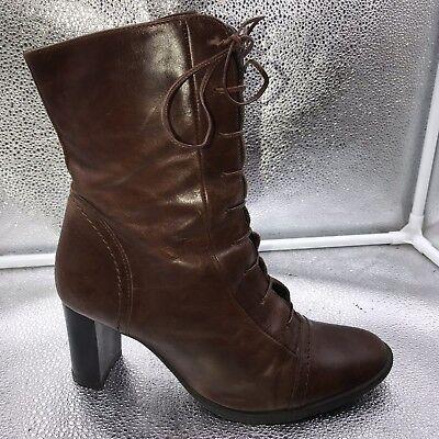Clarks Größe 38 5 Braunes Leder Viktorianisch Schnürer Wadenhohe Stiefel (Viktorianische Stiefel)