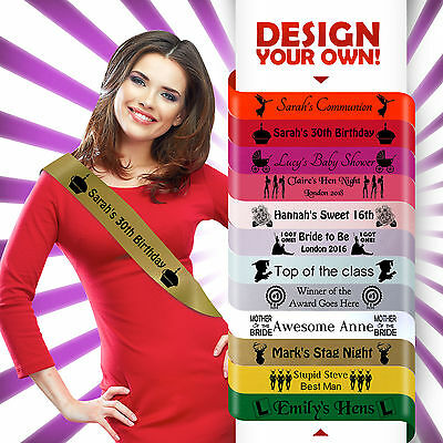 PERSONALISED PINK HEN PARTY NIGHT DO SASH 18TH 21ST 30TH BIRTHDAY PRESENT IDEA* (Anniversary Party Ideas)