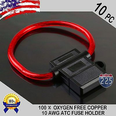 10 Pack 10 Gauge ATC In-Line Blade Fuse Holder 100% OFC Copper Wire Protection Amp In Line Fuse Holder