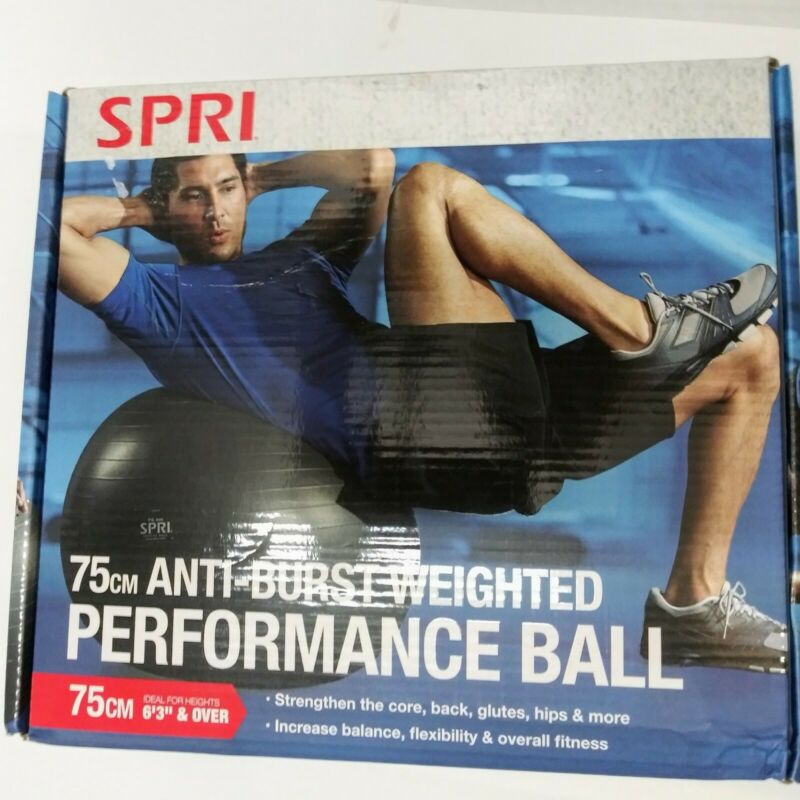 SPRI 75cm Anti-Burst Weighted Performance Ball Black NEW for Taller Height 6