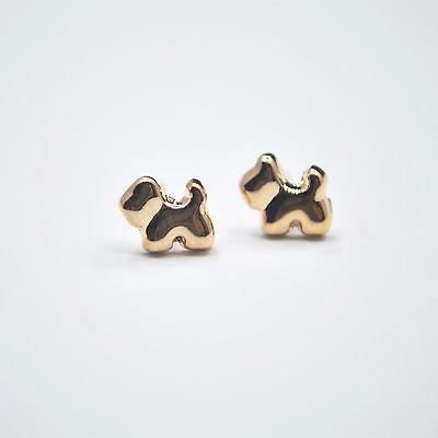 Shiny 14K/14ct Rose Gold Plated Cute Small Little Dog/Puppy Stud Earrings Gift