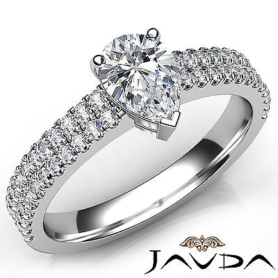 French U Pave Pear Diamond Engagement Ring GIA Certified H Color VS1 Clarity 1Ct
