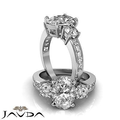 3 Stone Lustrous Oval Cut Diamond Engagement Ring GIA G VS2 14k White Gold 2 ct