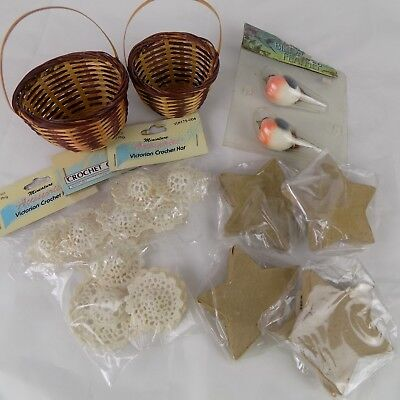 Lot of Crafting Items Birds Baskets Crochet Doll Hats Cardboard Stars Christmas ()