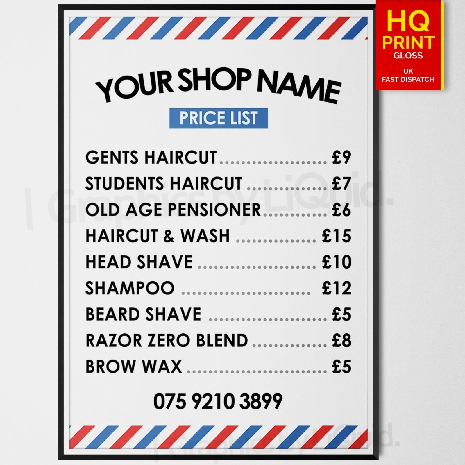 Barber Shop Poster Price List Sign Salon Adverting Prices A4 A3 A2 A1 A0 Ebay
