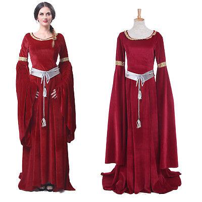 Women Velvet Medieval Renaissance Dresses Celtic Queen Gown Red Costume - Red Medieval Dress Costume