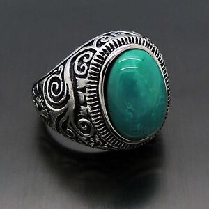 Mens-Large-Natural-Oval-Turquoise-Gemstone-Stainless-Steel-Ring-US-Size-8-15