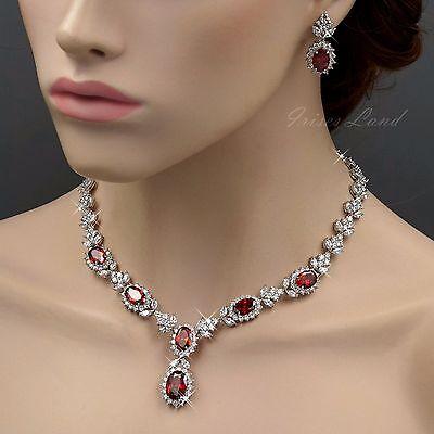 18K White Gold GP Ruby Red Zirconia CZ Necklace Earrings Wedding Jewelry Set 551