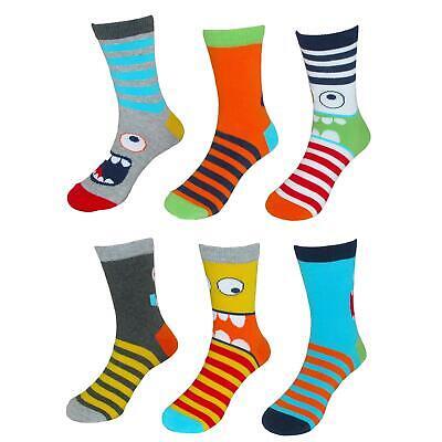 New Jefferies Socks Children's Monster Face Crew Socks (6 Pair Pack)