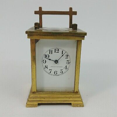 Waterbury Top Viewer Glass Brass Carriage Mantel Clock Untested w/ Chip on Face