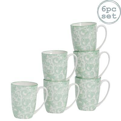Tea Coffee Mug Patterned Porcelain Cups - Green and White - 350ml...