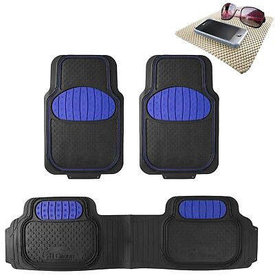 Universal Rubber Floor Mat Football Design Blue for Car SUV Van w/ FREE Gift