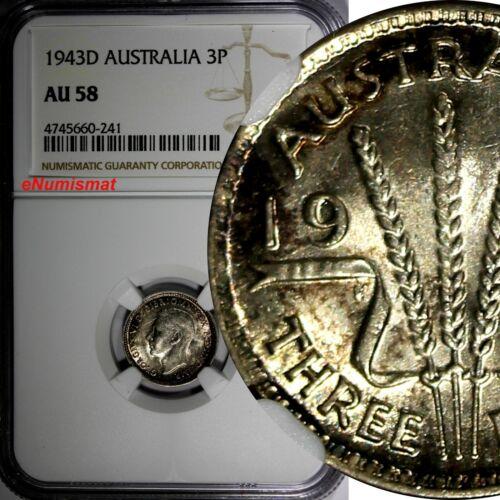 AUSTRALIA Silver 1943-D 3 Pence Threepence NGC AU58 NICE TONED KM# 37