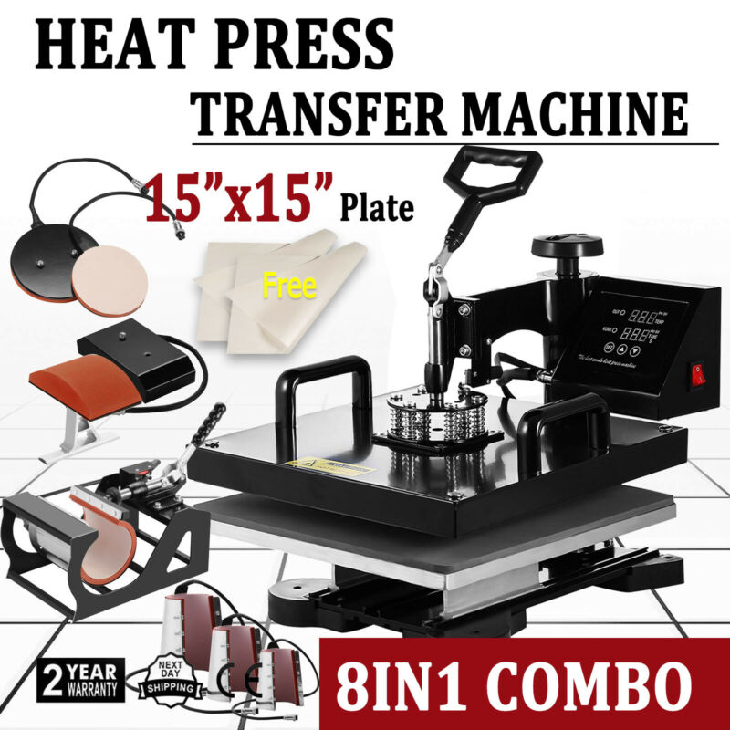 "8 IN 1 15""x15"" Combo T-Shirt Heat Press Transfer Machine Hat Mug Plate Combo Kit"