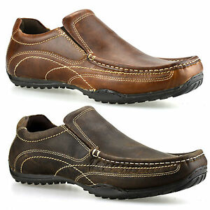 mens new casual leather slip on walking boat moccasin