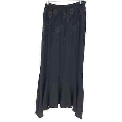Spencer Alexis Womens Size Large Maxi Skirt Black Flounce Hem Floral Print