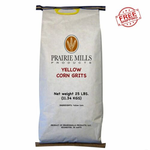 Prairie Mills Yellow Corn Grits (25 lbs.) fast shipping fresh