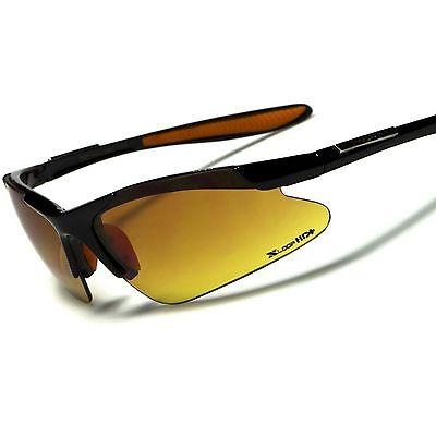 Day Night Driving Biking Biker Amber HD Lens Mens Semi Rimless Sport Sunglasses
