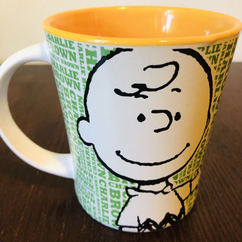Peanuts Charlie Brown Gibson Stoneware Yellow Green Logo Coffee Tea Mug !