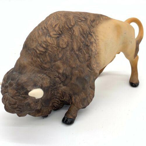 Vintage Cybis Buffalo Bison Ceramic Figurine Hand Decorated Signed