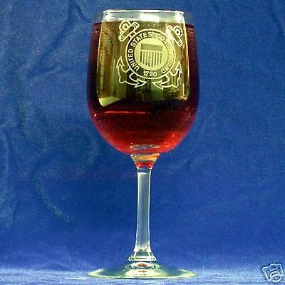 Guard Emblem - US Coast Guard Emblem etched wine glasses, set of 2