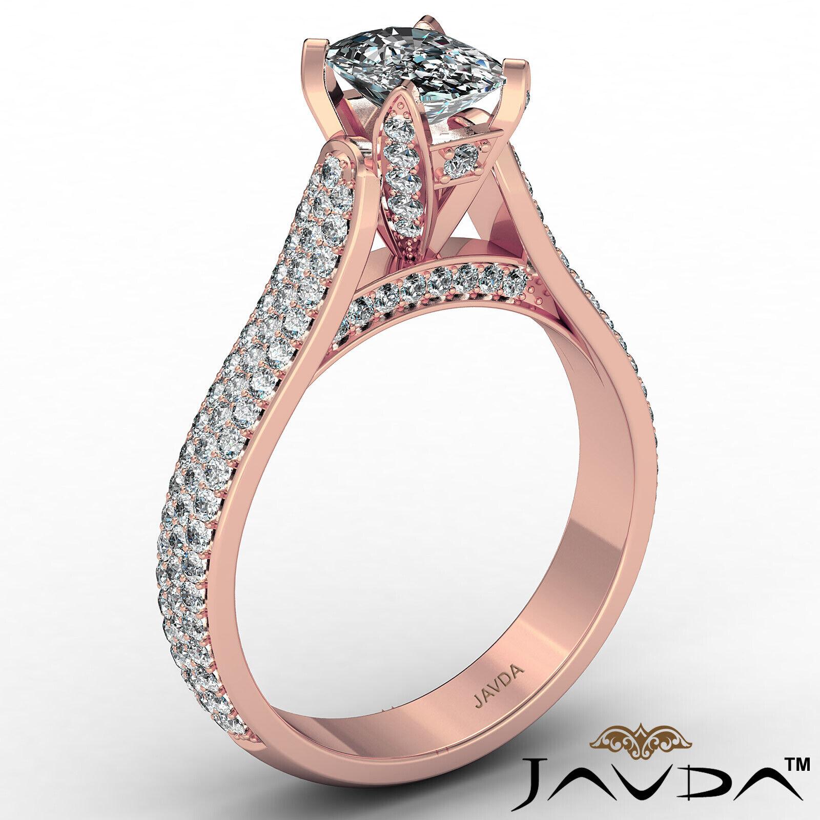 3 Row Shank Cushion Diamond Engagement Ring GIA E Color & SI1 clarity 2.35 ctw 5