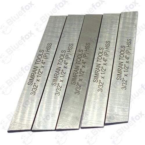 "5x Cut Off Blade (3/32"" x 1/2"" x 4"") M2 Grade HSS Hardened & Ground Parting Tool"