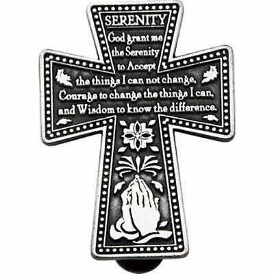 Serenity Prayer Cross Car Sun Visor Clip Pewter Strength Encouragment Prayer Visor Clip