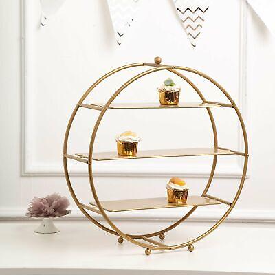 "GOLD 21"" tall Round Metal Wheel Stand Cupcake Display Wedding Party Dessert"