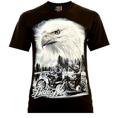 Ride Eagle (Rock Eagle Herren T-Shirt Schwarz Ride Free Rocker Style Biker Designe Adler)