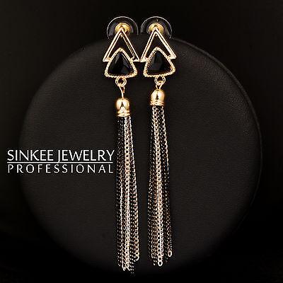 Black Triangle Long Tassels Drop Dangle Earrings Cubic Zirconia Wedding Jewelry