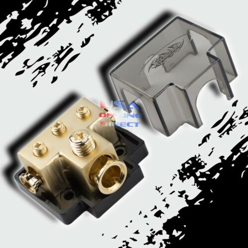 GOLD POWER GROUND DISTRIBUTION BLOCK 1/0 or 2 IN & 4/8 AWG GAUGE OUT MARINE USA
