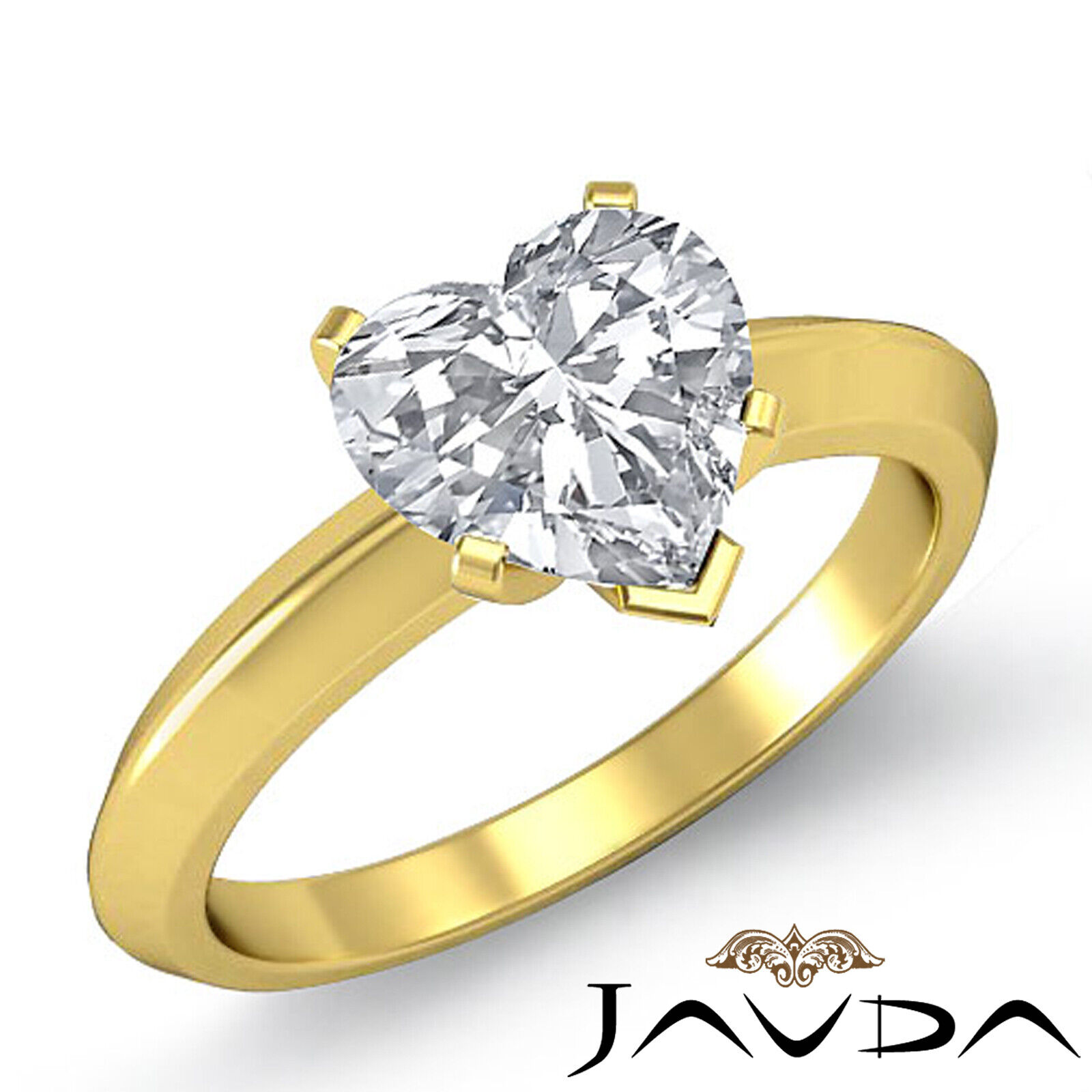2.5mm Knife Edge Solitaire Heart Diamond Engagement GIA Certified F VS2 0.56 ct. 1