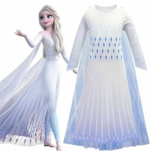 Girls Elsa Fancy Dress Frozen 2 Queen Cosplay Costume Birthday Party Ball Gown
