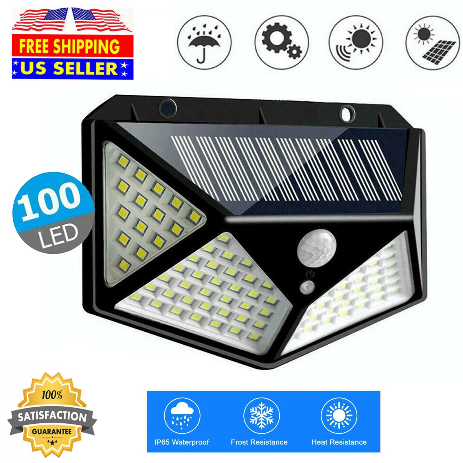 100 led solar powered light pir motion