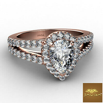 Halo French Setting Pear Diamond Engagement Split Shank Ring GIA F VS1 1.25 Ct 9