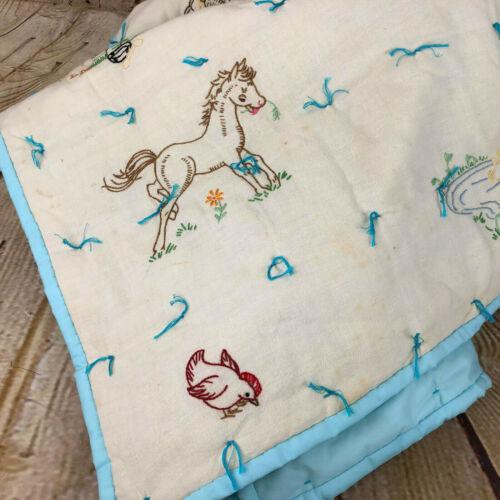 Vintage Crib Handmade Blanket with Barn Animal Embroidery White Blue Trim
