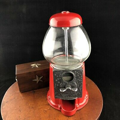 "Vtg Carousel Industries Candy Gumball Machine 8.75"" Reproduction Red Desk Size"