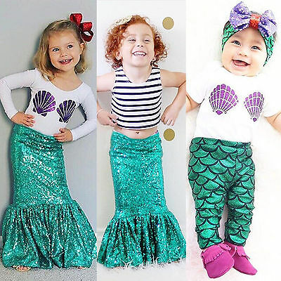 Kids Baby Girl Mermaid Costume T Shirt Top Skirt Dress Pants Outfits Set Cosplay