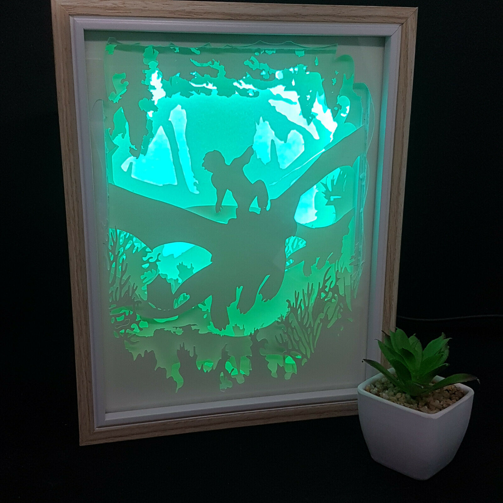 DRAGONS   inspired papercut shadow box, night light - DIGITAL TEMPLET PDF,SVG... 2