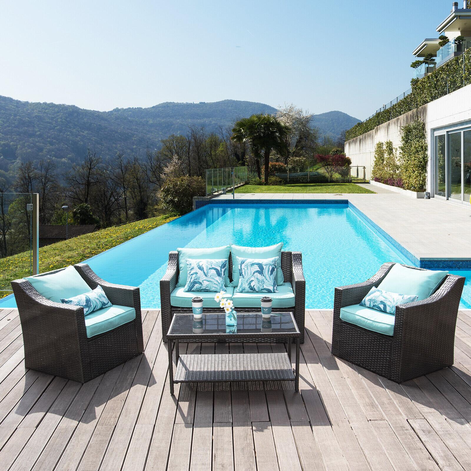 4PCS Patio Furniture Sofa Set Outdoor Garden Cushion Rattan