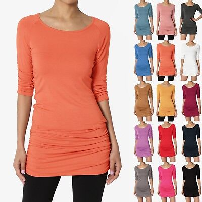 TheMogan S~XL Boat Neck 3/4 Sleeve Ruched Shirred Fine Jersey Bodycon Tunic Top